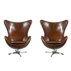 One Pair of Arne Jacobsen Style Egg Chairs
