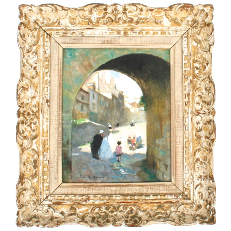 French Village Archway by French Post-Impressionist Jules-René Hervé For Sale