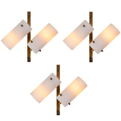 Set of Three Stilux Double-Glass and Brass Wall Lights, circa 1950s