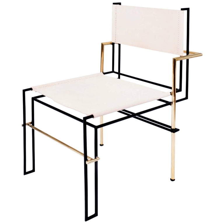 Bauhaus Casbah Chair Contemporary Functionalist in Black Brass and Vachetta Tubular For Sale