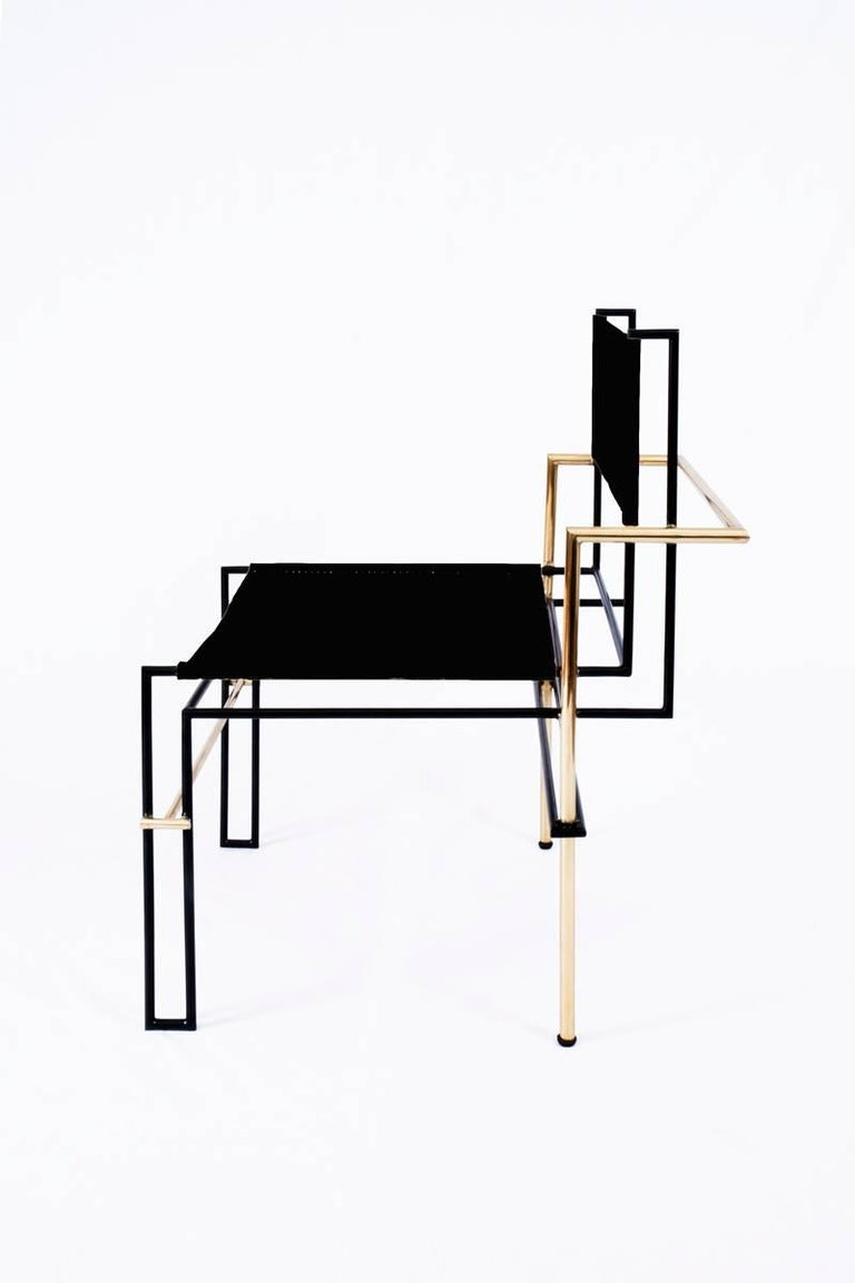 The Casbah chair, inspired by Laszlo Moholy-Nagy's photograms, is all linear balance, gravity and angular movement. The complex tubular brass structure of this chair frames a natural vachetta leather seat and back sling that will age gracefully with
