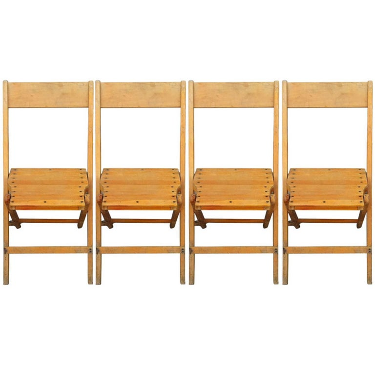 Set of 4 Vintage Wood Folding Chairs; 45 sets available (or 140 chairs)