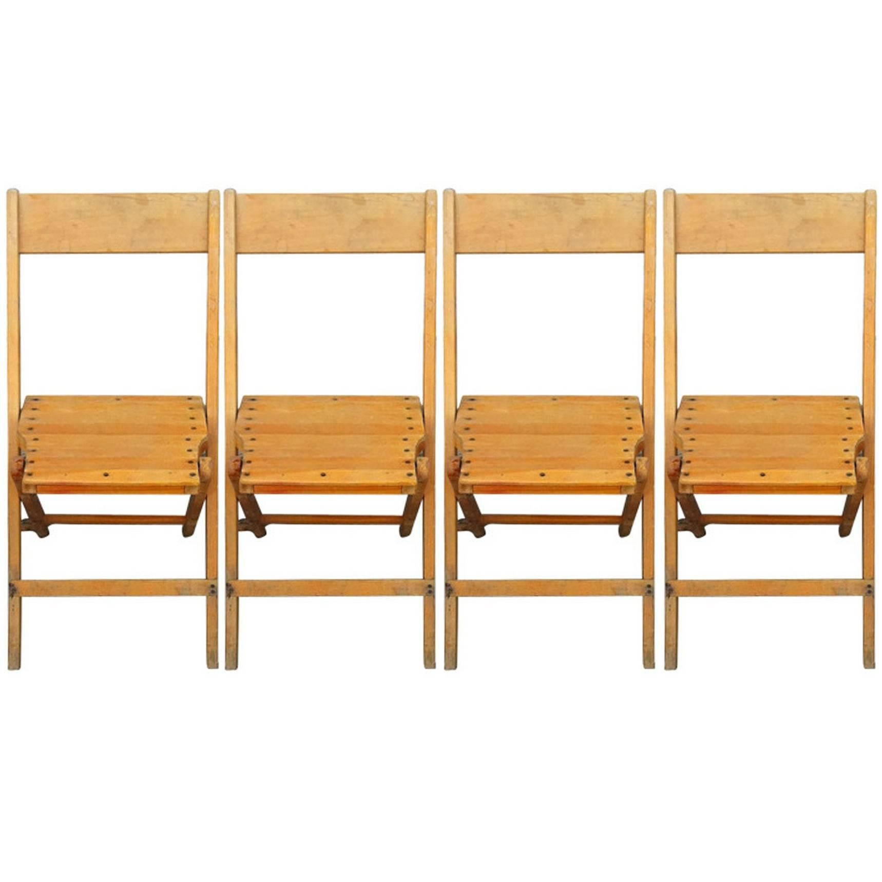 Set Of 4 Vintage Wood Folding Chairs; Many Available (total Of 470 Chairs  Avail