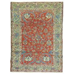 Antique Heriz Carpet in Bright Corals & Green