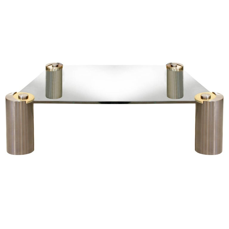 """Karl Springer Large """"Sculpture Leg Coffee Table"""" in Gunmetal and Brass, 1980s"""