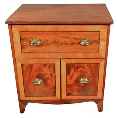 George III Petite Two-Drawer Chest in Mahogany and Satinwood, circa 1790