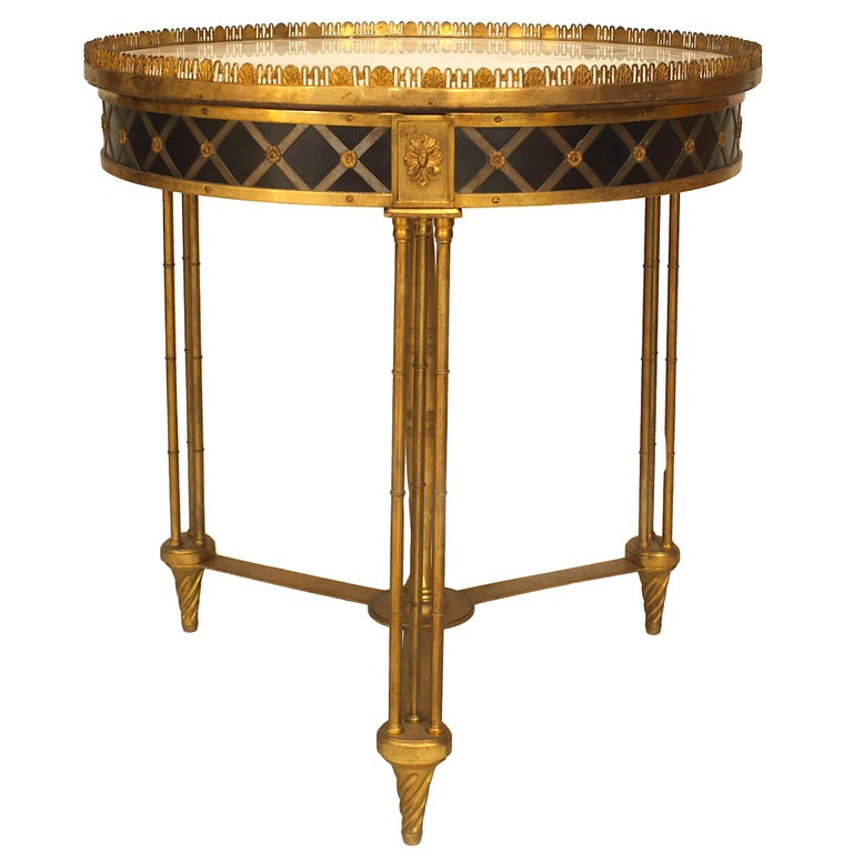 20th c. French Charles X Style Bronze Dore and Marble Gueridon Table