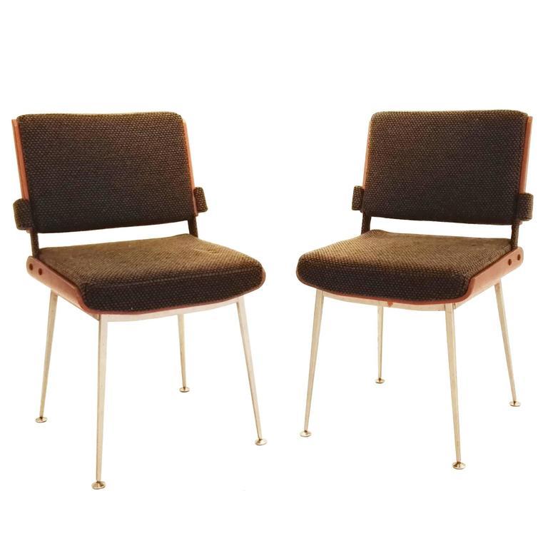 Alain Richard Pair of Mahogany and Fabric Chair, France, 1960s, Ipso Facto