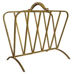 Spanish, 1940s Gilt Metal Magazine Rack
