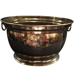French Polished Brass Jardiniere or Planter with Handles, 19th Century