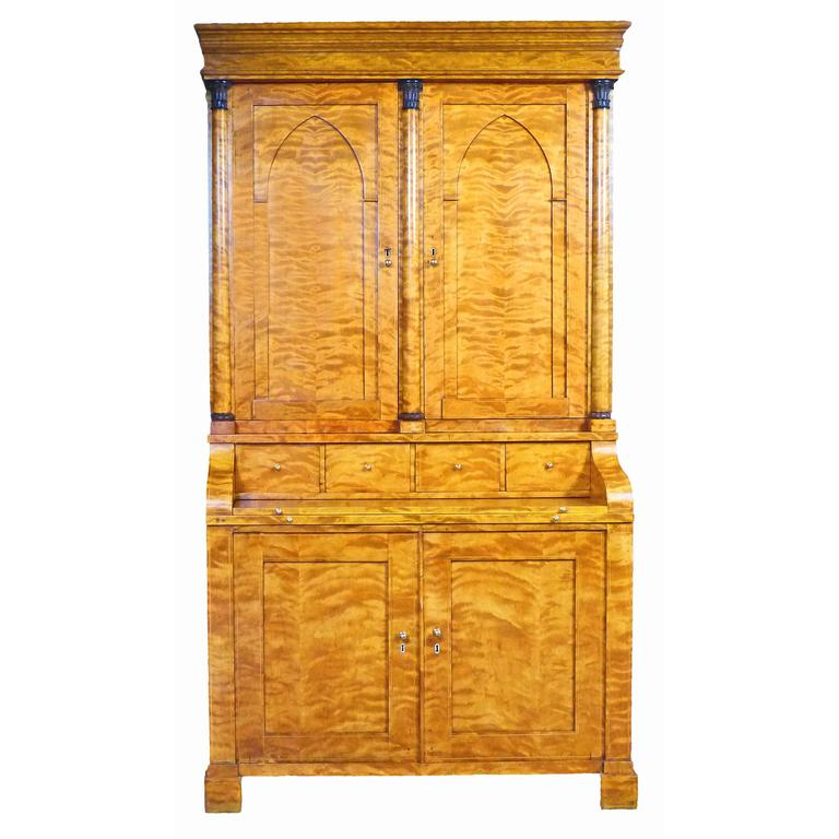 Secretaire Bureau Bookcase 19th Century Swedish Biedermeier Satin Birch For Sale