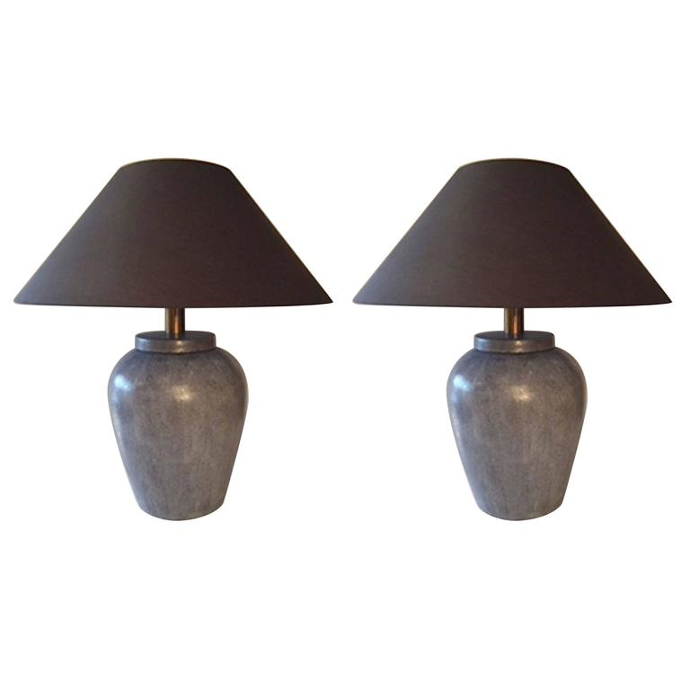 Pair of Grey Faux Shagreen Porcelain Lamps, Contemporary