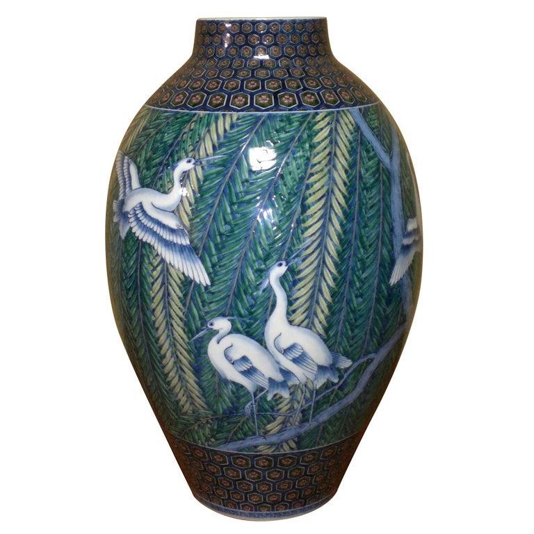 Japanese Hand-Painted Imari Large Porcelain Vase by Master Artist, circa 2005 For Sale