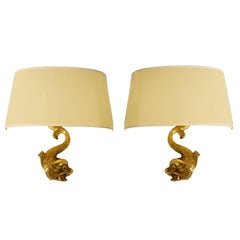 Pair of E. Guillemard Dolphin Bronze Sconces