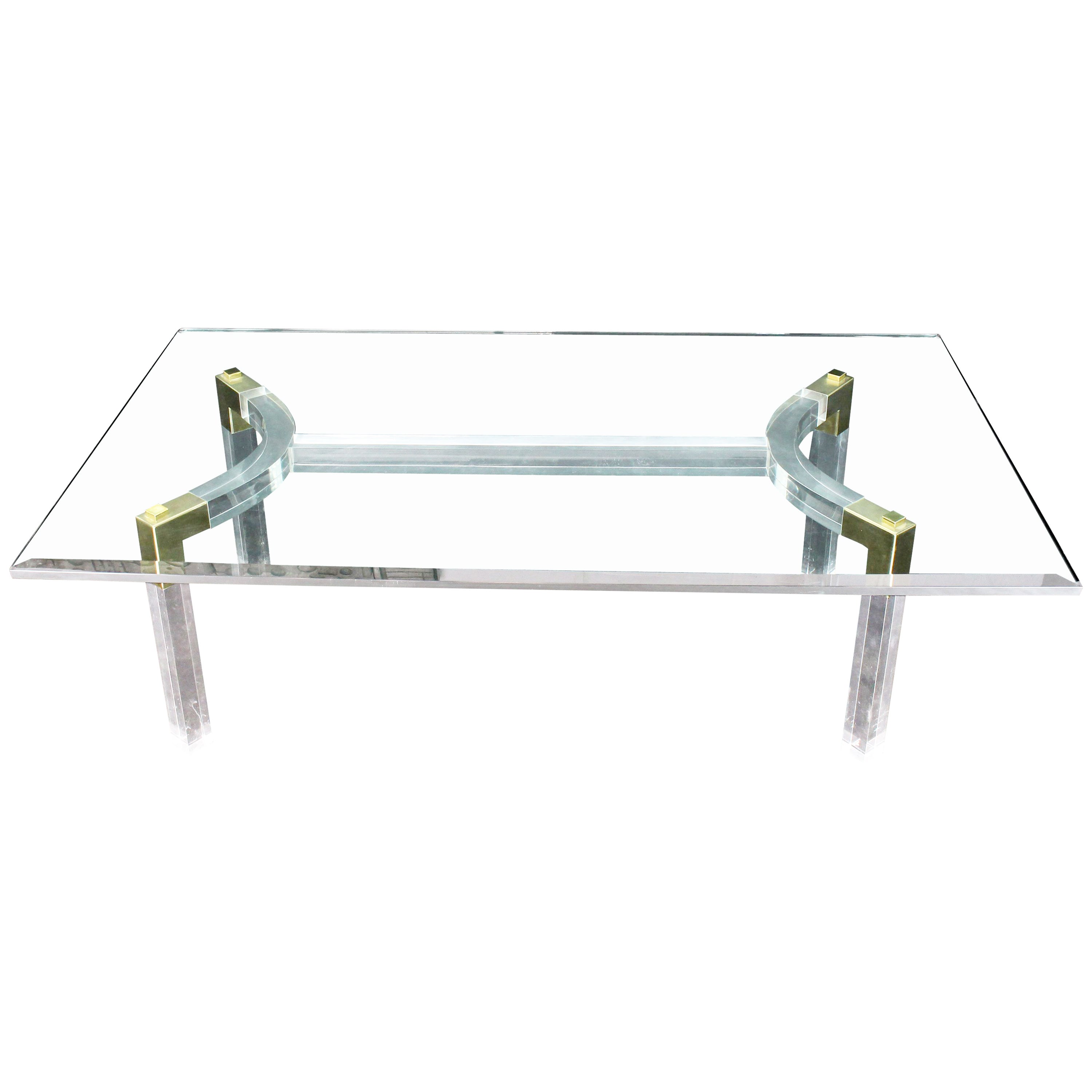 Thick Bent Lucite Brass Base Glass Top Large Rectangular Coffee Table