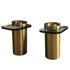 Mid-Century Modern Karl Springer Style Brass Cylinder & Glass Side Tables, Pair