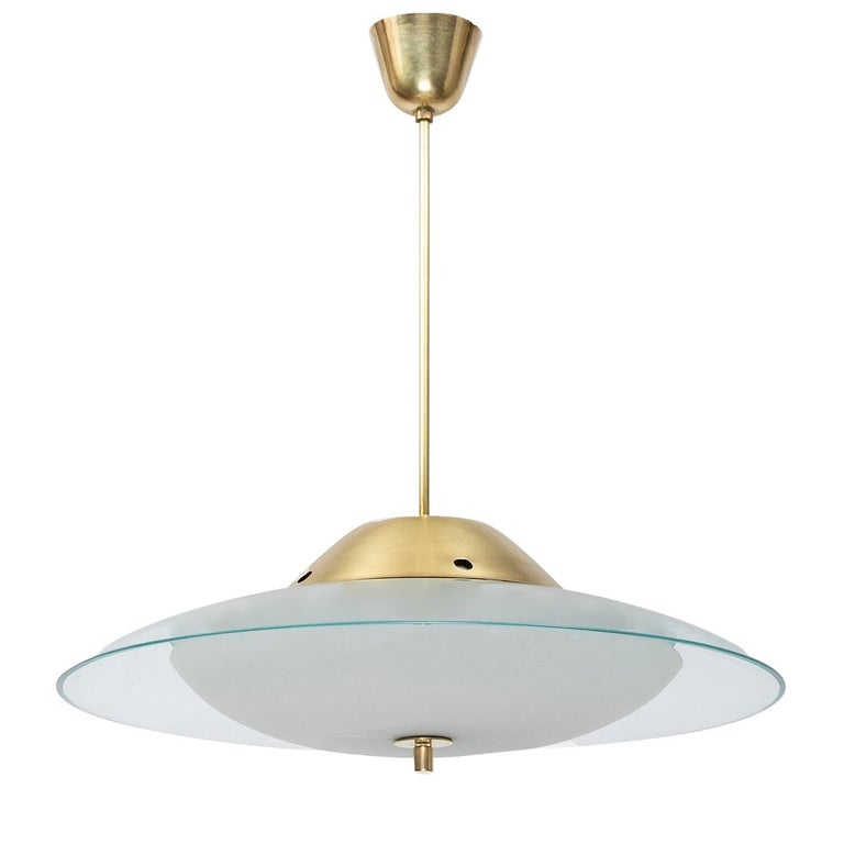 Max Ingrand for Fontana Arte Round Crystal and Brass Chandelier, Italy 1950's