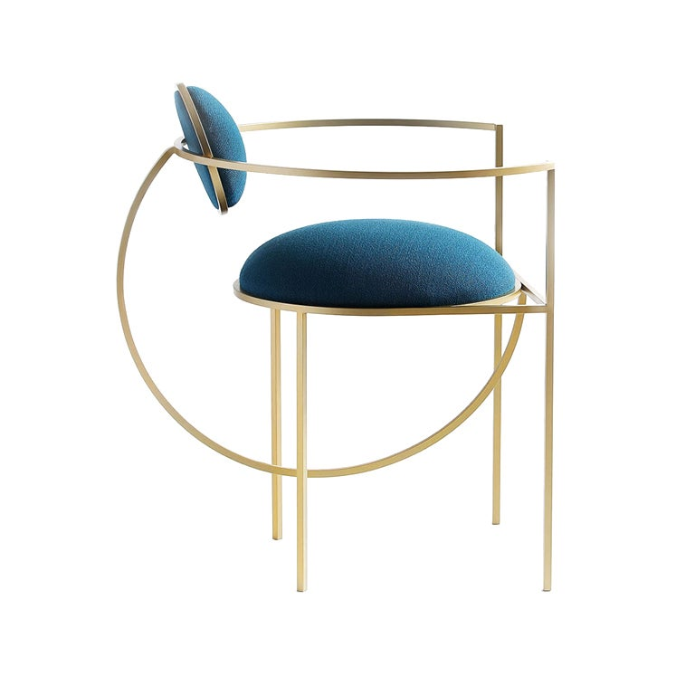 Lunar Chair in Blue Wool Fabric and Brushed Brass Frame, by Lara Bohinc