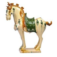 Cream Pottery Horse, Chinese San Cai Glaze