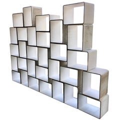 Monumental 30 Piece Willy Guhl Modular Cement Bookcase Library