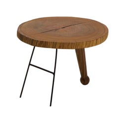 Contemporary Kiaat Wood Coffee Table in Oiled Finish with Steel Base
