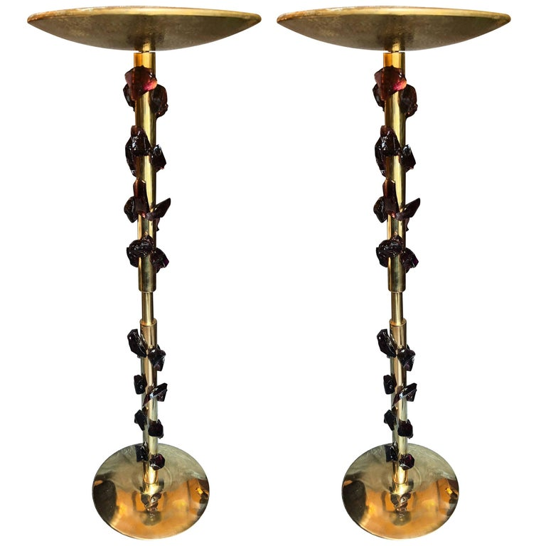 Late 20th Century Pair of Brass and Murano Glass Purple Rocks Floor Lamps