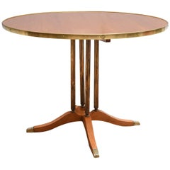 Wooden Italian Round Table with Brass Columns, 1950