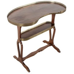 Restauration Period Rognon or Kidney Side Table in Mahogany with Bronze Gallery