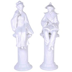 Rare Pair of Porcelain Chinoiserie Male and Female Figures on Pedestals