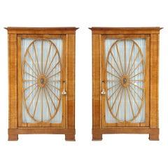Pair of Swedish Biedermeier Fruitwood Cabinets