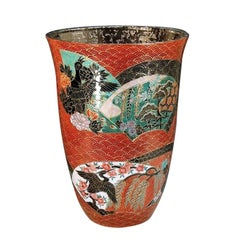 Japanese Imari Large Platinum-Gilded Red Porcelain Vase by Master Artist