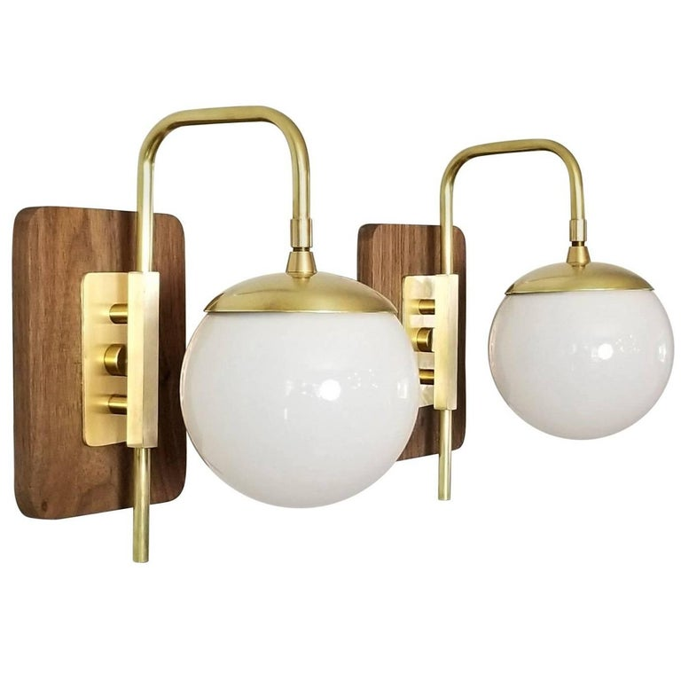 'Unna' Wall Mount Sconce in Walnut, Brass and Blown Glass by Blueprint Lighting
