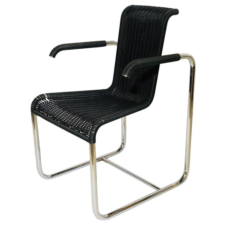 Jean Prouvé D20 Stainless Steel Leather Wicker Chairs for Tecta, Germany, 1980s For Sale