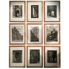 Set of 9 Engravings, Views Palace of Le Louvre Paris, circa 1805 by Balard.