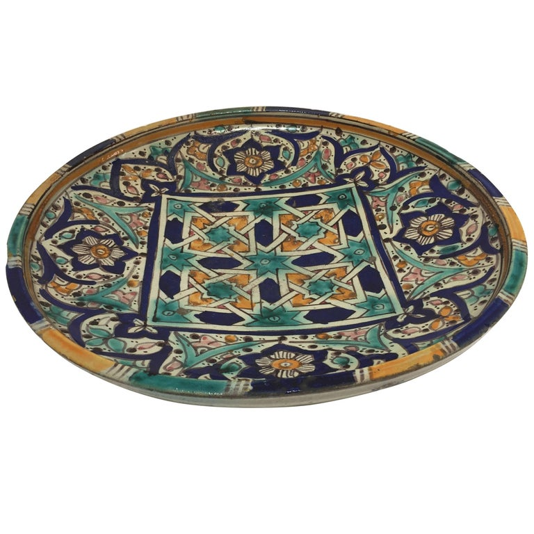 Hand-Painted and Handcrafted Moroccan Ceramic Bowl or Wall Art Decorative Plate