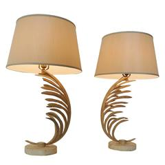 Michael Taylor Palm Frond Table Lamps, with travertine marble bases,  circa 1985