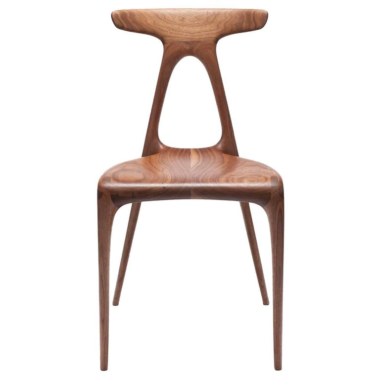 'Alpha' Solid Walnut Stackable Contemporary Dining Chair - In Stock For Sale