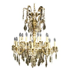 French Gilded Bronze and Crystal Sixteen-Light Antique Chandelier
