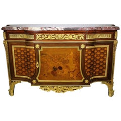 French 19th Century Louis XVI Style Ormolu and Marquetry Fontainebleau Commode