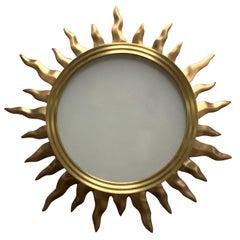 Fine Mid-Century Modern French Bronze Star Sun Glass Flush Mount Light Fixture