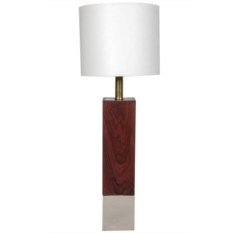 Rectangular Walnut & Chrome Table Lamp by Laurel