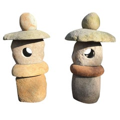 Rare Pair of Natural Stone Spirit Lanterns Hand-Carved from Natural Boulders