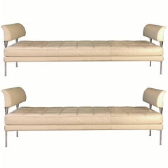 Beige Leather and chromed steel Benches Hydra Model, for Poltrona Frau 1990s