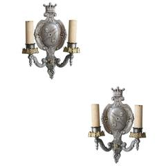 Edwardian Aluminum Crest Wall Sconce **Satuirday Sale**