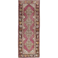 Vintage Oushak Runner with Geometric Medallions in Purple and Brown