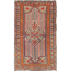 Antique Persian Seneh-Malayer Rug with Intricate Designs and Rich Color Palette