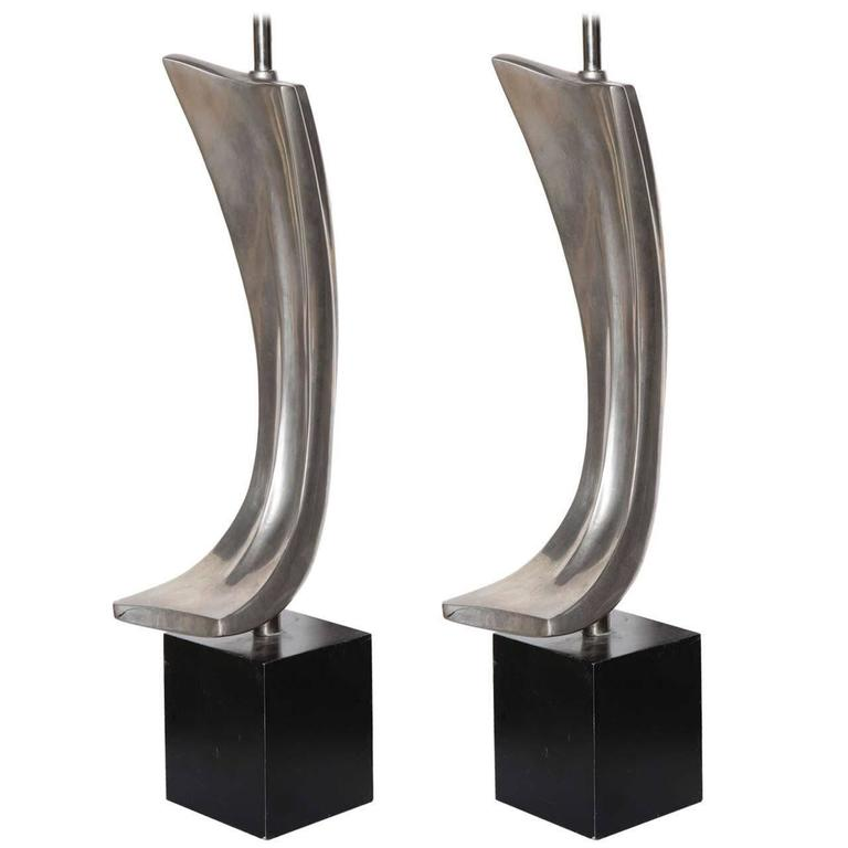 Pair of Maurizio Tempestini for Laurel Lamp Co. Swag Nickel Plate Table Lamps