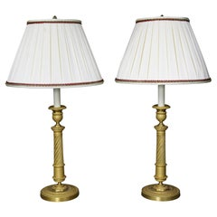 Pair of French Empire Ormolu Candlestick Lamps