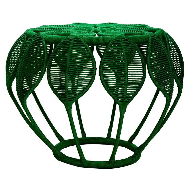 Ipê Stool Geometric Contemporary Brazilian Design in Metal and Handmade Fabric