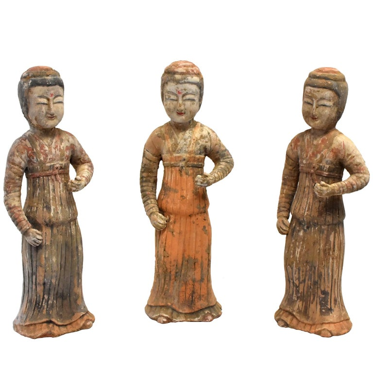 Set of Three Pottery Figures, Han Style Terracotta Governess